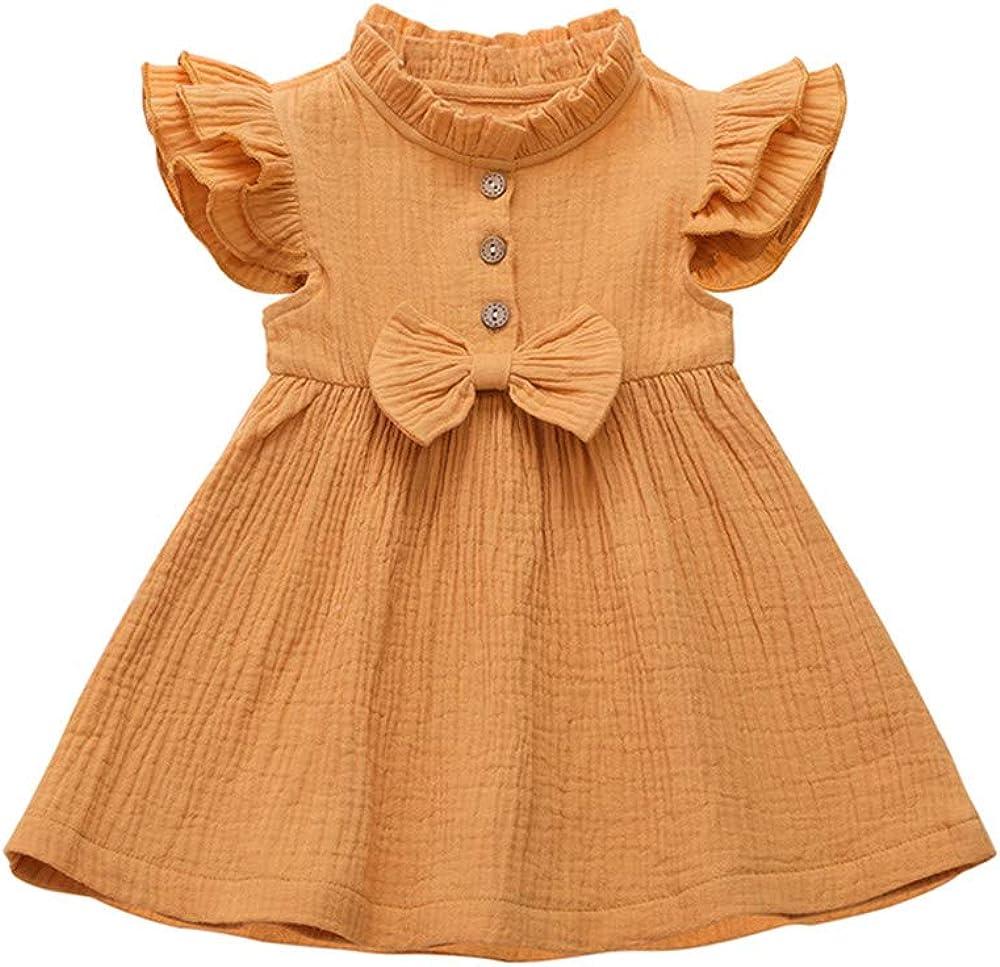 Honykids Toddler Baby Girls Linen Dress Short Flying Sleeve Ruffled Toddler Girl Spring//Summer Dresses