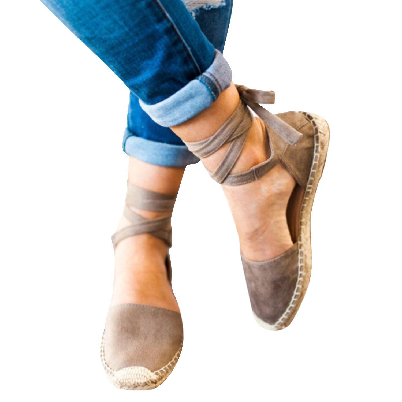 Gemijacka Damen Knouml;chel Schnalle Riemen Espadrilles Ausgeschnitten Binden Niet Klassischen Sommer Flache Sandale Schuhe  37 EU|1-beige