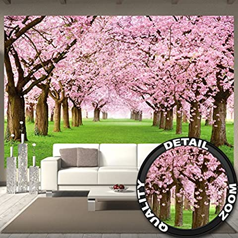 Cherry Tree Photo Wallpaper – Forest with Cherry Trees – Spring Pink Wallpaper Mural – Trees Forest Wall Decoration By Great Art 132.3 x 93.7