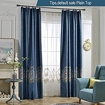 Amazon.com: Anady Top Navy Blue Curtains Flowers ...