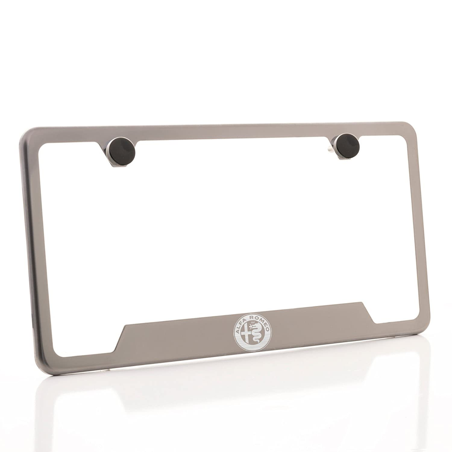 KA Depot One Fit Alfa Romeo Logo on Gun Metal Black Chrome Titanium Bottom Cut Out Stainless Steel License Plate Frame Holder Front Or Rear Bracket Laser Etch Engraved Aluminum Screw Cap