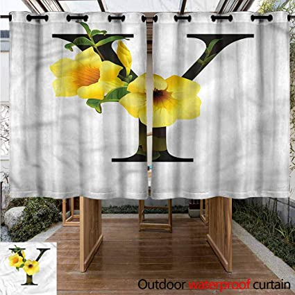 Amazon.com: Sunnyhome Grommet Curtain Letter Y Yellow Bells ...