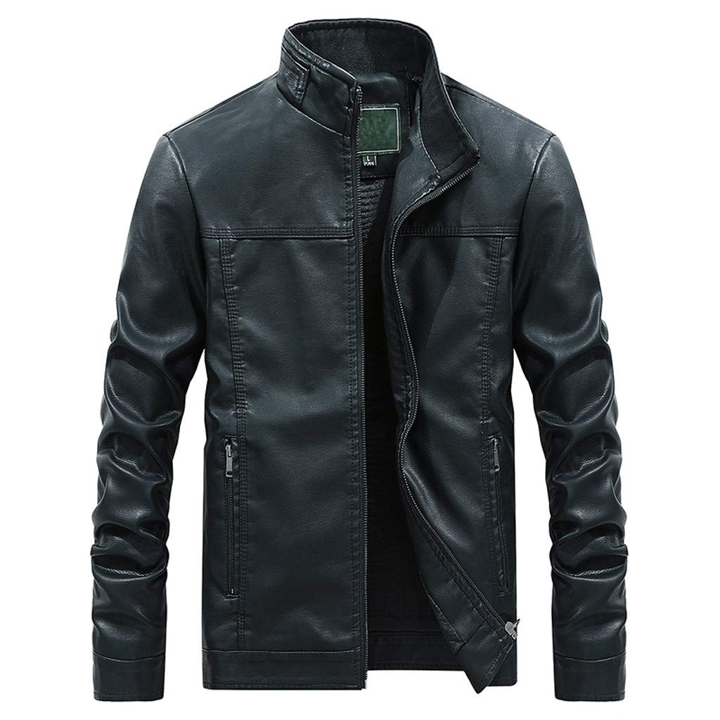 Benficial Jacket for Men,Mens Autumn Fashion Pure Color Stand Collar Imitation Leather Jacket Coat 2019 New Black