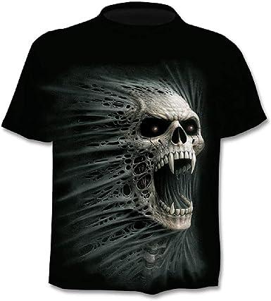 Camiseta Hombre Calavera - gótico - Manga Corta - Divertido - Camisa - Metal - Biker - niño - Rock - Punk - Oscuro - Vampiro - Disfraz - Halloween - Color Negro: Amazon.es: Ropa y accesorios