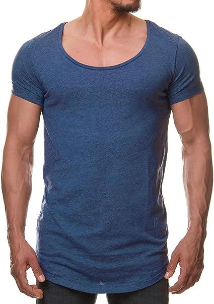 beautyjourney Camiseta básica de Hombre Camiseta Deportiva Casual de Verano Camisa Larga de Color sólido con Cuello Redondo y Manga Larga Camisas de Estiramiento Delgado: Amazon.es: Ropa y accesorios