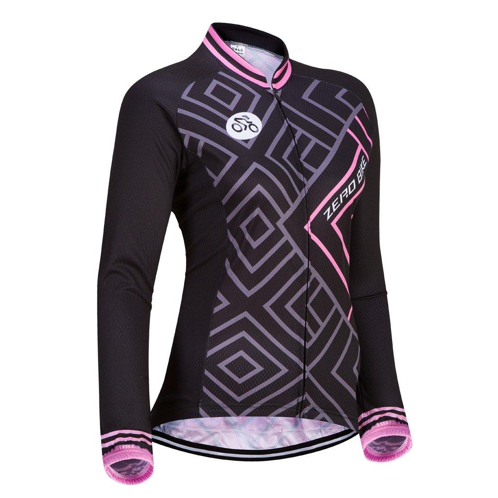 Maglia manica lunga da donna Cycling Jersey Outdoor Sport Slim Fit Zip Zip traspirante e rapido asciutto Etocars