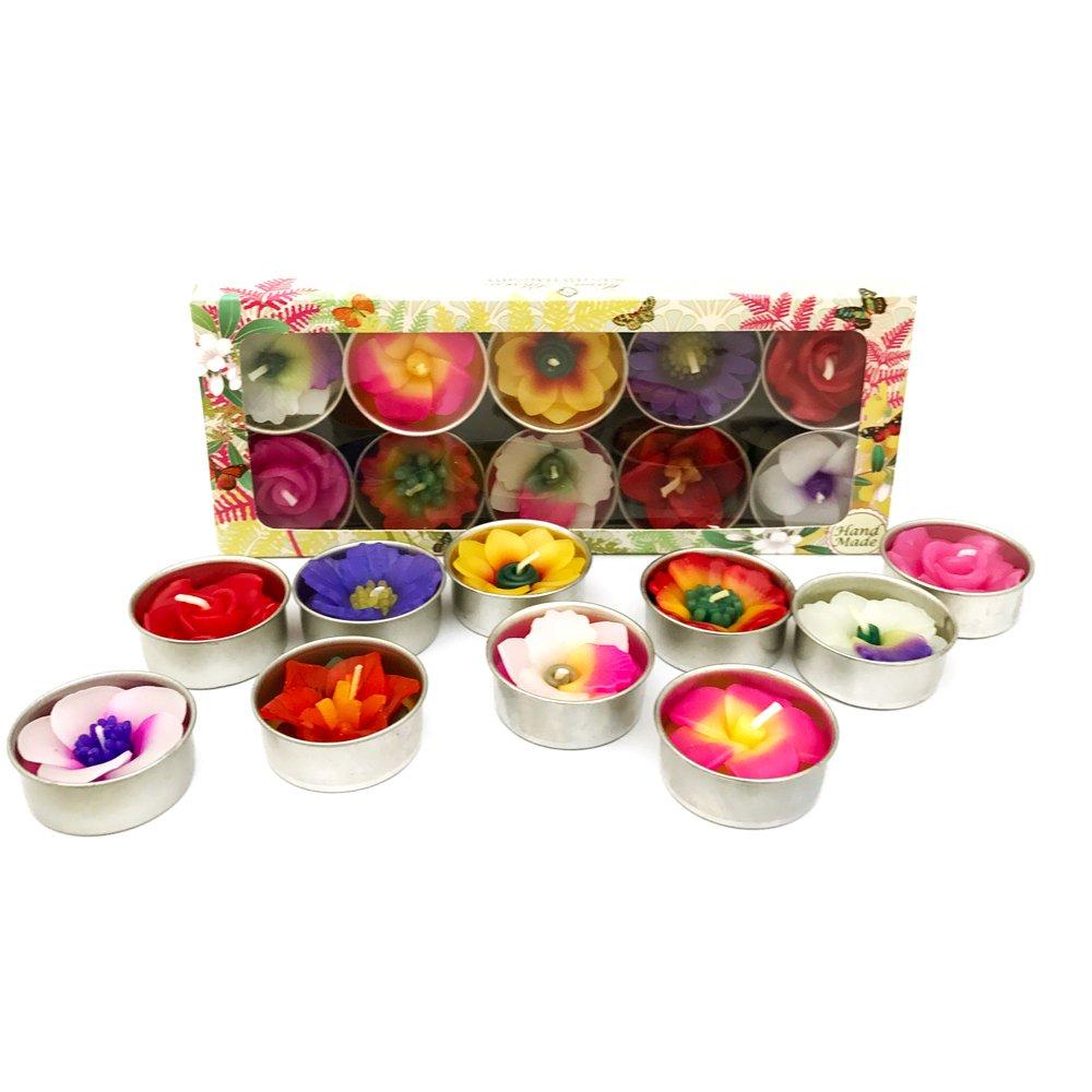 Diverse Forme e Colori Candele profumate Confezione da 10 per Il Commercio Equo Solidale in Confezione Regalo realizzate a Mano Hana Blossom