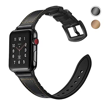 buena textura selección premium reunirse SUPERSUN ara Correa Apple Watch 42mm, Cuero Correa iwatch Silicona  Reemplazo de Banda para Apple Watch Series 4 44mm, Series 3/Series 2/Series  1