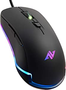 ABKONCORE AM8 Gaming Mouse with 4Dpi Levels (800, 1600, 2400, 3200), Programmable Buttons, Wired Ergonomic USB Computer Mouse for Gamer, Laptop, Chromebook, Mac (AM8) (Renewed)