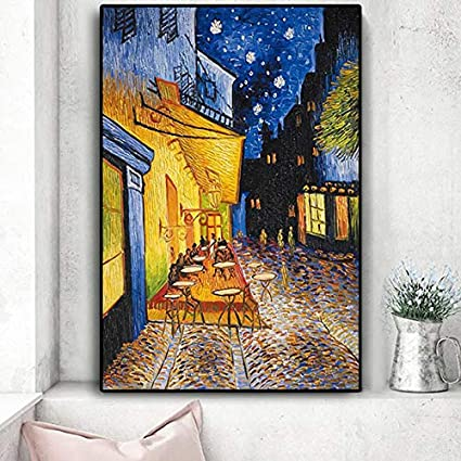 HGlSG Famoso Van Gogh Cafe Terraza en la Noche Pintura al óleo Reproducciones sobre Lienzo Carteles e Impresiones Sala de Estar Pintura Lienzo Cartel A3 60x90cm