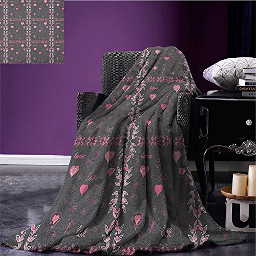 Pink and Grey Custom Blanket Spring Butterflies Flower Leaves Stylish Inspiration Season Concept All Weather Blanket Charcoal Grey Pink Size:51