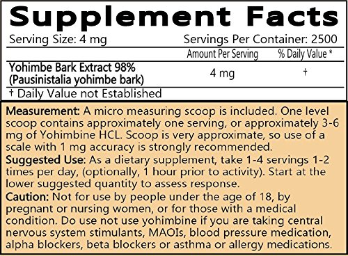 LiftMode Yohimbine HCL Powder Supplement - Fat Burner Supplement Plus Increased Energy and Libido, Yohimbe Bark Extract | Vegetarian, Vegan, Non-GMO, Gluten Free - 10 Grams (400 Servings) by LiftMode (Image #1)