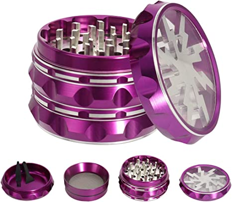VIVOSUN 2.5 4 Pieces Clear Top Herb Grinder Aluminium Spice Grinder with Pollen Scraper Purple