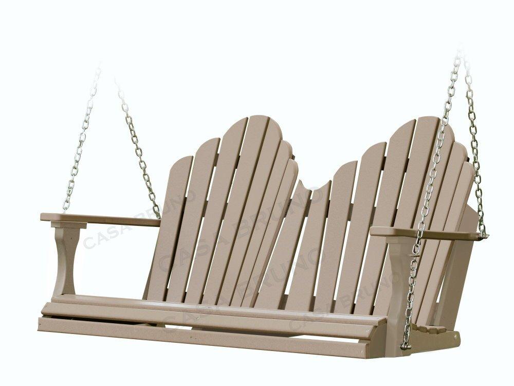 CASA BRUNO Original Montana Hängeschaukel / Gartenschaukel 130 cm breit, aus recyceltem Polywood® HDPE Kunststoff, patina-braun - kompromisslos wetterfest