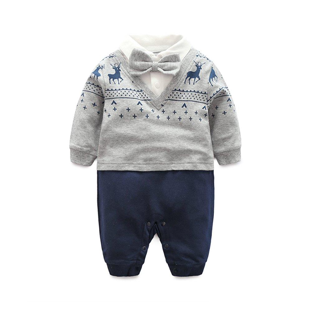 Fairy Baby tenue bébé garçon barboteuse manche longue smoking robe formelle robe soiree de nœud papillon UK-S080