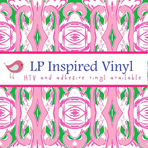 Flamingo Print Lilly Inspired HTV, pattern vinyl, sheet size 12x12, Lily P adhesive printed patterned craft vinyl (Lily Silhouette)
