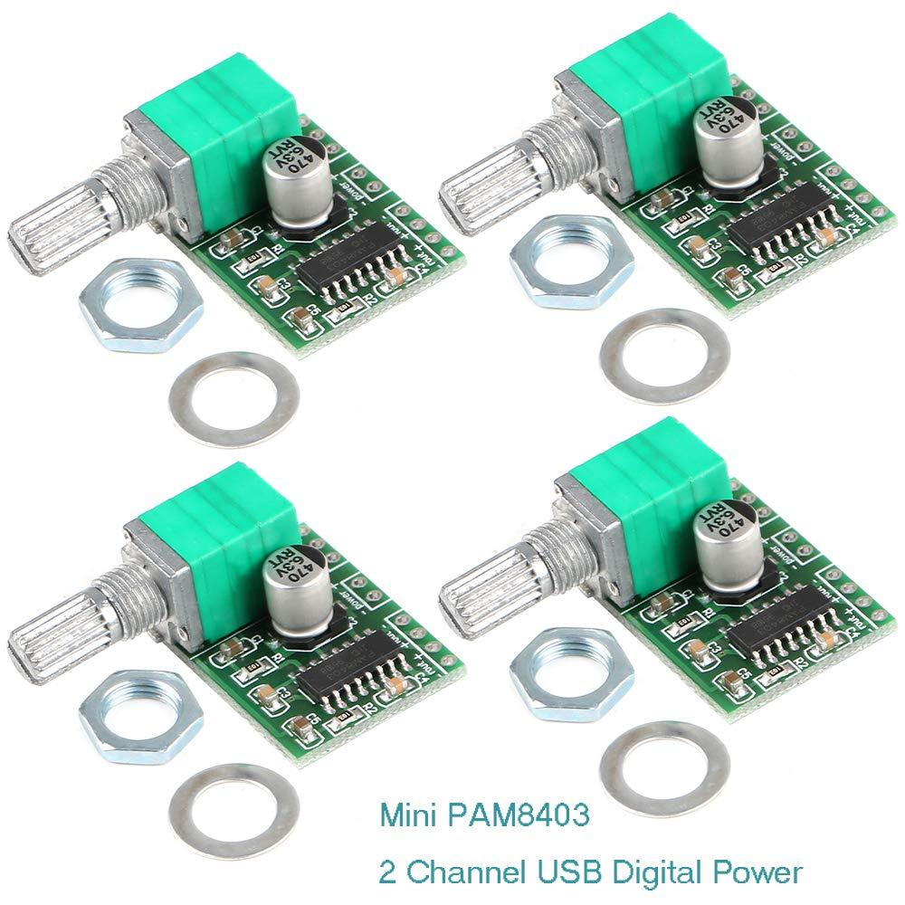 Innovateking-EU 4 Stü cke Mini PAM8403 3 Watt + 3 Watt DC 5 V Audio Verstä rker 2-Kanal-USB-Digital-Endverstä rker-Modul Stereo Verstä rker mit Potentiometer fü r DIY Projekte