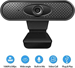 1080P Full hd Webcam with Mic PC Camera for Video Calling & Recording Video Conference/Online Teaching/Business Meeting Compatible with Computer Desktop Laptop MacBook for Windows Android iOS