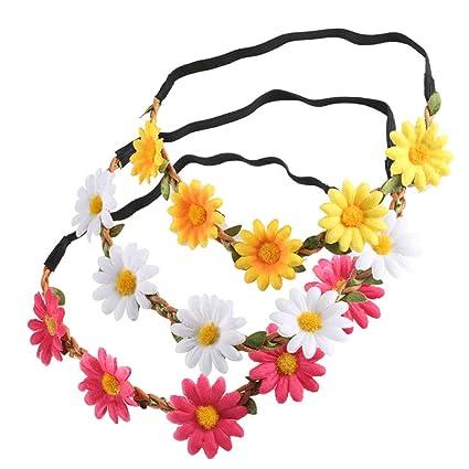 Nahuaa Diadema de Flores 3pcs Banda de pelo margarita multicolor ...