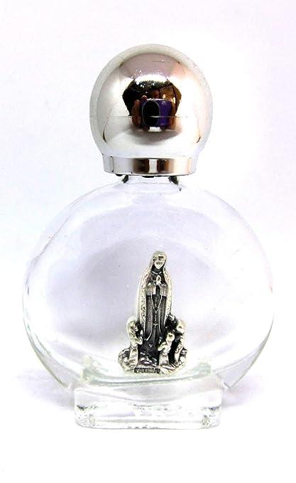 Botella de cristal con tapón plateado para agua bendita con aparición de la Virgen de Fátima