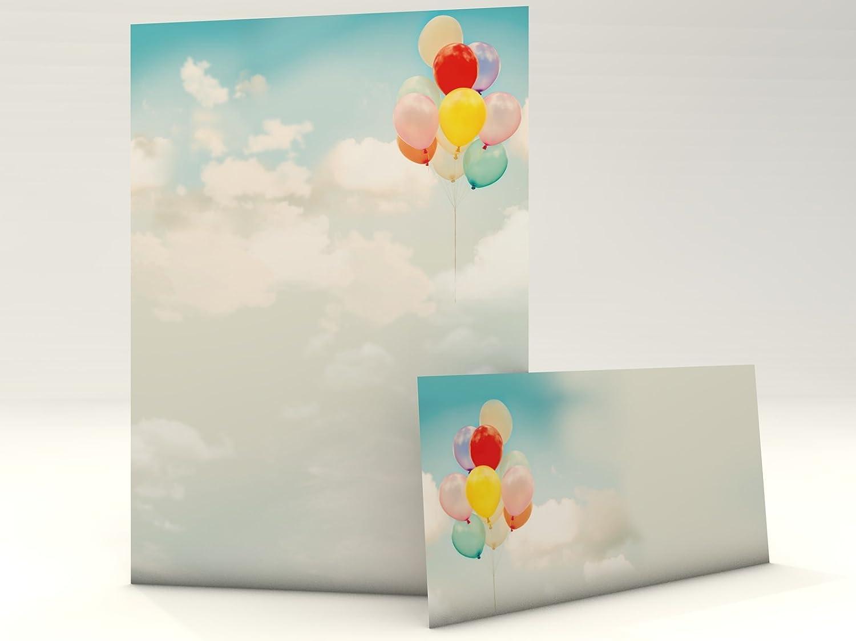 Wolken Himmel Freiheit Motivpapier Set mit Umschlag Luftballons 20 Blatt A4 und 20 passende Kuverts paperandpicture