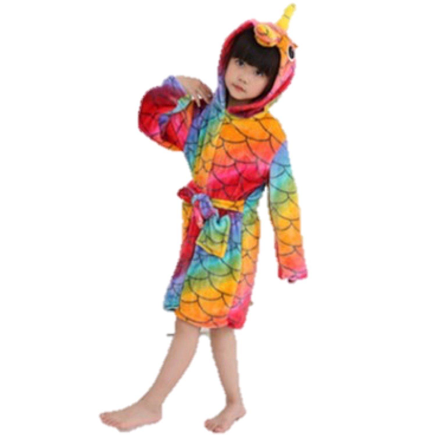 eBoutik Estrella de Chicas Arco Iris Sirena Unicornio Albornoz Bata 3D Cuerno M/ágico P/úrpura Rosa Amarillo Pijamas Pijamas