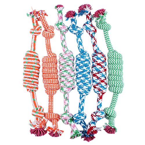 (Buyanputra Puppy Dog Pet Toy Cotton Braided Bone Rope Chew Knot-Random Color)