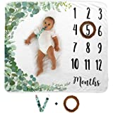 Baby Monthly Milestone Blanket | Includes Wooden Wreath and Pacifier Clip | 1 to 12 Months | Premium Extra Soft Fleece | Best