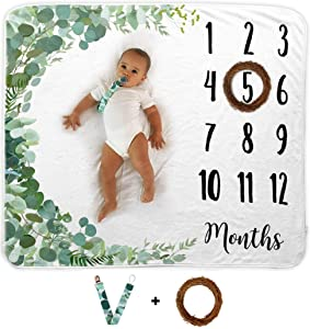 Baby Monthly Milestone Blanket | Includes Wooden Wreath and Pacifier Clip | 1 to 12 Months | 100% Organic Fleece Extra Soft | Best Photography Backdrop Prop for Newborn Boy & Girl