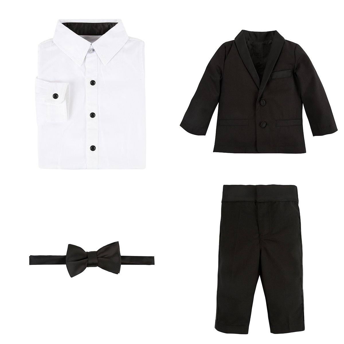 Andy & Evan Little Boys' Four Piece Tuxedo Suit Set, Black, 7 Years