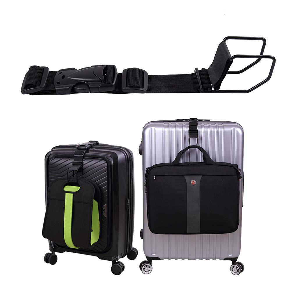 Luggage Hook strap,J hook for add a bag luggage,multi Adjustment bag strap hook with hands free(Black-Large Size) by Vigorport
