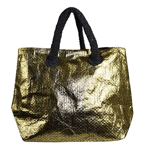 Gold Large Tote - Peach Couture Gold Weave Large Travel Tote Hobo Handbags Shoulder Bags (Black Gold)