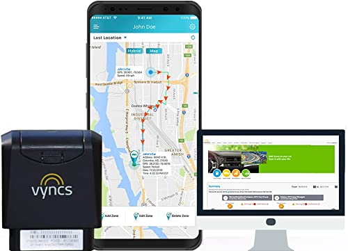 GPS Tracker VyncsMo, 3G Car GPS Tracking, USA and More Than 177 Countries, 24 7 Roadside Emergency Assistance, Location Tracker, OBD GPS Tracker for Vehicles, Connected Car Services, Alexa Support