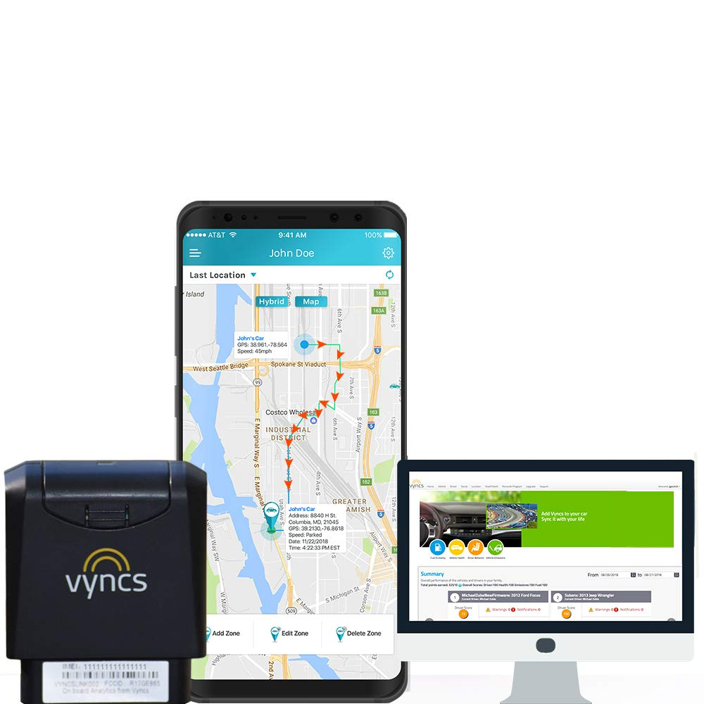 GPS Tracker VyncsMo, 3G Car GPS Tracking, 24/7 Roadside Emergency Assistance, Location Tracker, OBD GPS Tracker for Vehicles, Works in 177 Countries, Alexa Support, Connected Car Services by Vyncs
