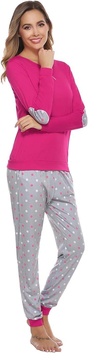 Hawiton Pigiama Donna Cotone Lungo Invernale Manica Lunga Caldo Pullover blouser e Pantaloni a Pois ondulati 2 Pezzi Pigiami Set