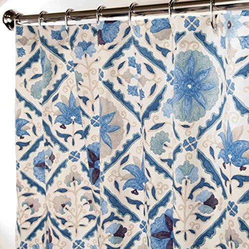 Extra Long Shower Curtain Bathroom Curtains Blue Suzani