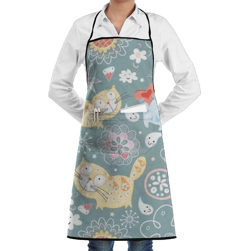 grtswp Cartoon Catキッチンよだれかけエプロンの女性メンズ耐久性シェフエプロン料理、グリル、ベーキング、調節可能100 %のポリエステルwithポケット   B07FTGJPLS