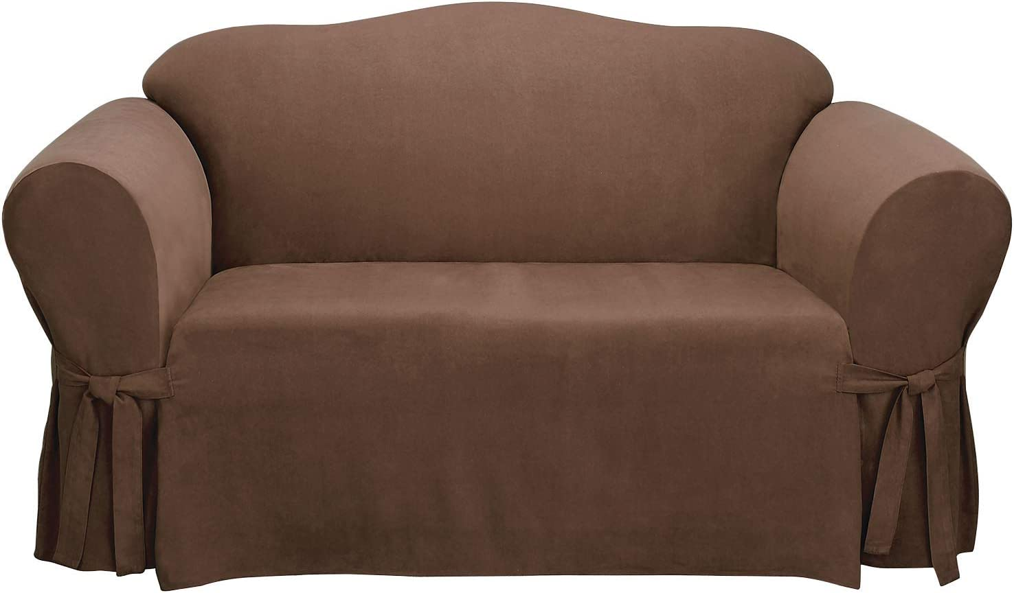 SureFit Home Decor Soft Suede Box Cushion Loveseat One Piece Slipcover, Relaxed Fit, Polyester, Machine Washable, Chocolate Color