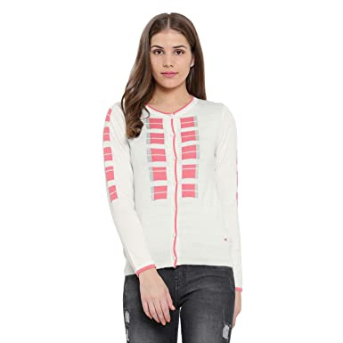 d65edb1225 Monte Carlo Pink Cream Printed Cotton Round Neck Cardigan  Amazon.in   Clothing   Accessories