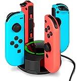 Stazionamento di ricarica per Nintendo Switch Joy-Con, NesBull supporto per caricabatterie 4 in 1 Switch Joy-Con con indicazione a LED