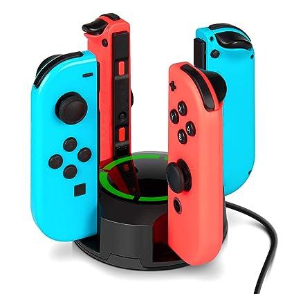 Dock de carga para Nintendo Switch Joy Con, NesBull soporte de carga 4 en 1 Cargador para Joy-Con de la consola Switch, con indicadores de luz LED