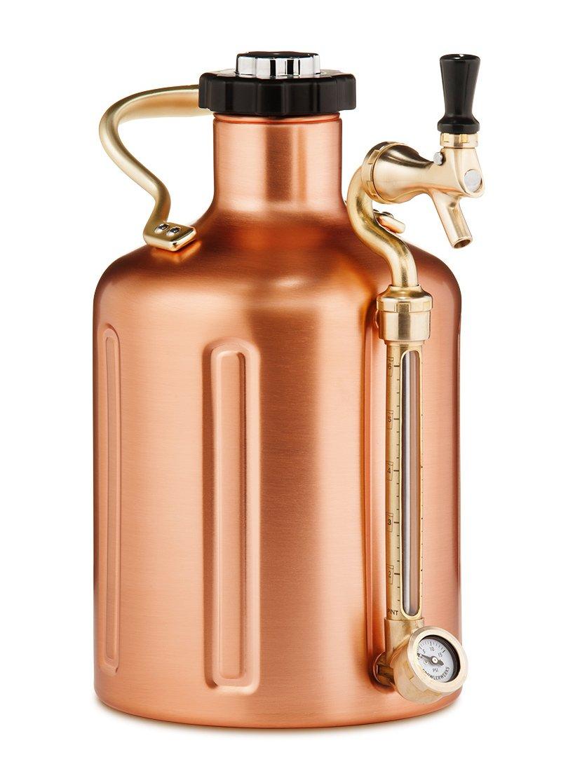 uKeg 128 oz Pressurized Growler for Craft Beer - Copper