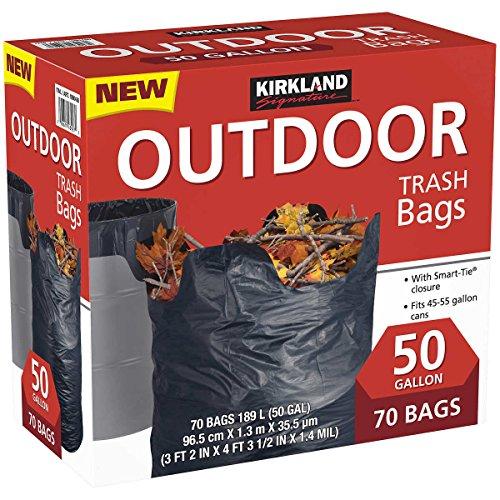 [해외]커클랜드 서명 스마트 폐쇄 야외 잔디 50 갤런 휴지통 백, 70 카운트/Kirkland Signature Smart Closure Outdoor Lawn 50 gallon Trash Bags, 70 Count