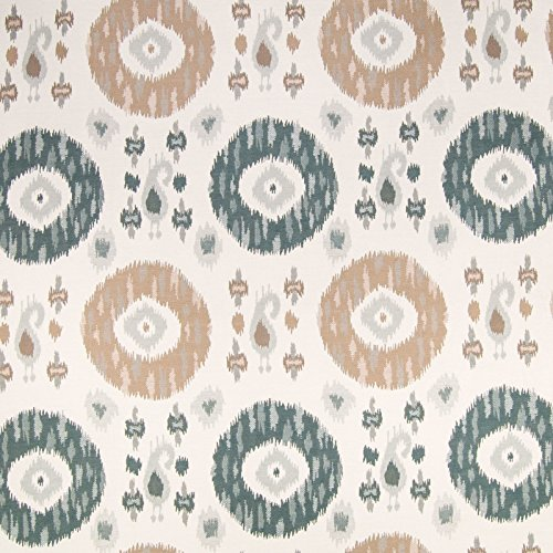 (Taupe Neutral Green Ikat Medallion Geometric Southwest Jacquard Upholstery Fabric by the yard )