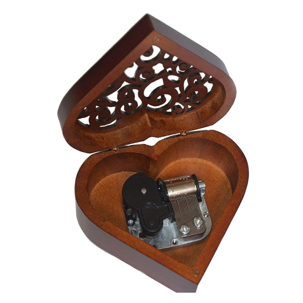 Antique Engraved Wooden Wind-Up Musical Box, My Heart Will Go On Musical Box, with Gold-plating Movement in, Heart-shaped