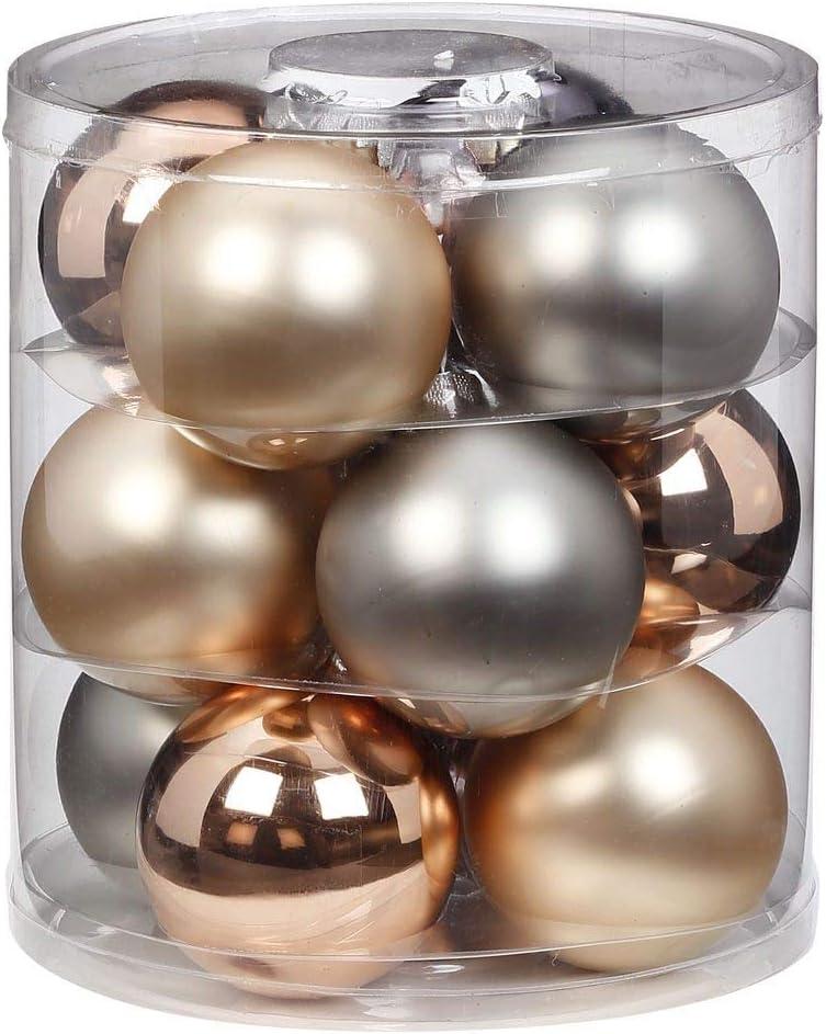 Lot de 12 Boules de No/ël en Verre de 8 cm Boules de Sapin de No/ël.