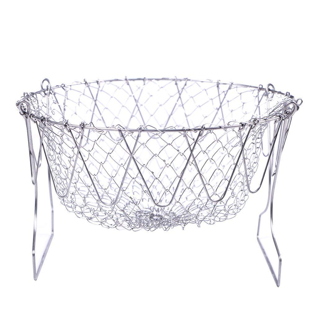 HanDingSM Foldable Chef Basket,Multi-function Stainless Steel Kitchen Tool Steam Rinse Strain Fry Cooking Mesh Net Strainer Colander