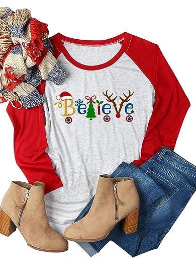 Amazon.com  Aring Women Believe Letter Print Christmas T-Shirt Raglan Long  Sleeve O-Neck Casual Top Tees  Clothing d108c3697035