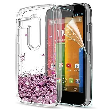 973cb53055d LeYi Funda Motorola Moto G Silicona Purpurina Carcasa con HD Protectores de  Pantalla,Transparente Cristal Bumper Telefono Gel TPU Fundas Case Cover para  ...