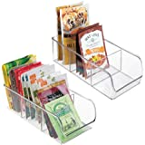 mDesign Refrigerator Freezer Pantry Cabinet Organizer Bins for Kitchen - 11 x 5.5 x 3.5 Pack of 2 Divided Clear